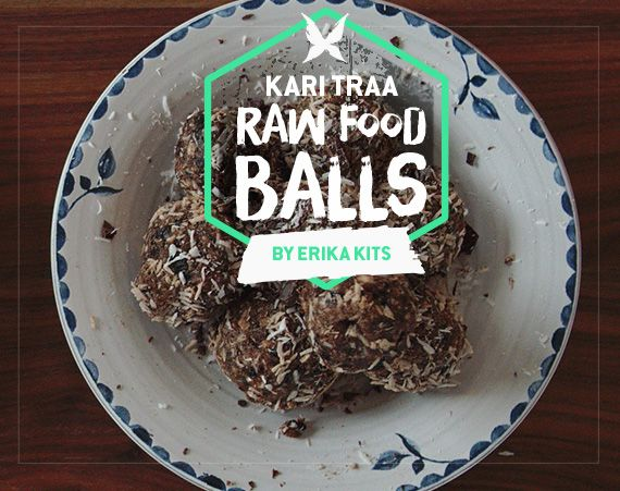 Erika Kits' winner recipe of delicious raw food balls with blueberry and licorice. Yummy!