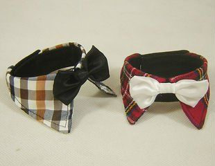 Grid bow tie Pet products pet accessories