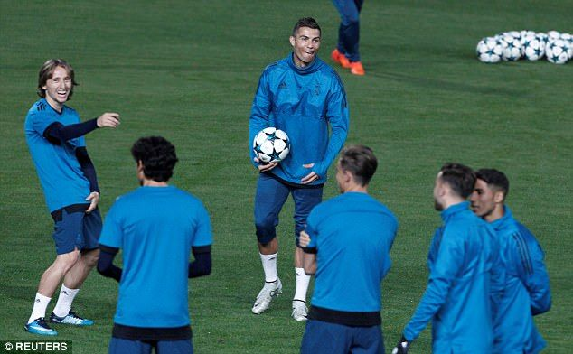 ristiano Ronaldo and Luka Modric look in fine spirits in Real Madrid training. #UCL