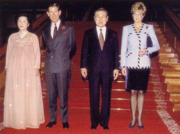 November 3, 1992:  Prince Charles & Princess Diana during their visit to Seoul, Korea.