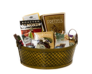 """Simply Savoury"" Basket  A Woven Basket filled with scrumptious Savoury Delights including Dips, Cheese Spreads, Crackers & More  $85.00 CAD"