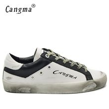 CANGMA итальянский дизайнер бренда Спортивная обувь Винтаж Мужские лёгкие ботинки модные натуральная кожа белый бас дышащий мужской Обувь 34-48(China)