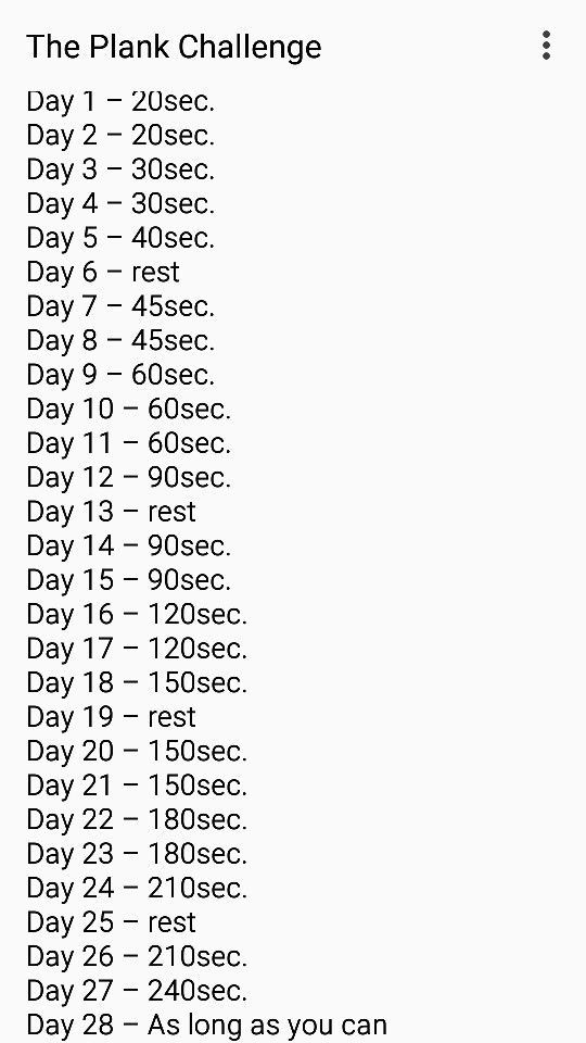 Image result for 28 day plank challenge chart | Tennis ...