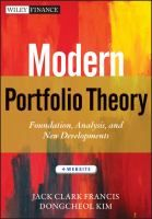 Modern portfolio theory : foundations, analysis, and new developments + website