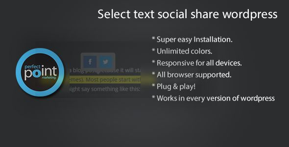 Select text social share wordpress