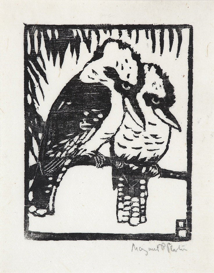 MARGARET PRESTON - Kookaburras - Yes! linocut inspo