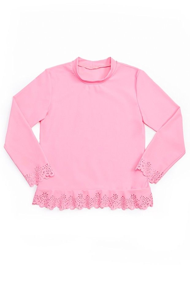 Seafolly Girls Flutter Bye Rashie - Seafolly Girls Flutter Bye Rashie with;    Adorable pale pink colourway  Laser cut design detail around the hem and sleeves  Long sleeve and high neckline for great protection from the sun   Fantastic UPF 50+ sun protection  Super cute addition to your little princess's wardrobe!  Made from nylon/elastane fabric