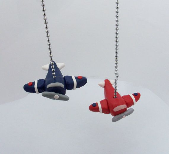 Airplane Fan Pull - Your choice of colors - Transportation - Children's Nursery Toddler Polymer