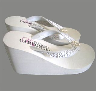 Sequins & Crystals High Wedge Bridal Flip Flops - White | White Wedding Wedge Flip Flops