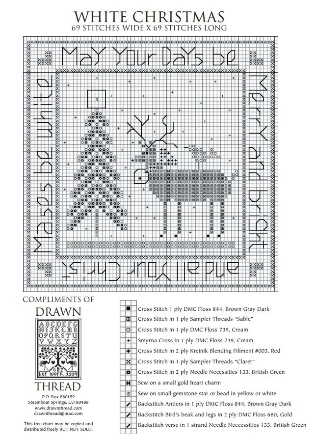 White Christmas - The Drawn Thread (grille gratuite)  Did this years ago....my first piece with Sampler Threads