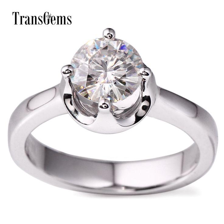 Transgems 14k White Gold Moissanite Ring Real Wedding Rings Set 1 Carat Round Solitaire Engagement Leuco Ring For wedding Women