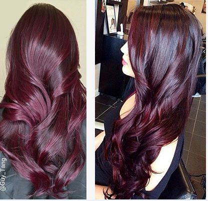 Aubergine hair color Aubergine appears on the very violet spectrum of your wine reds. Its deep plum and dark red hues resemble that of a young, full-bodied wine.