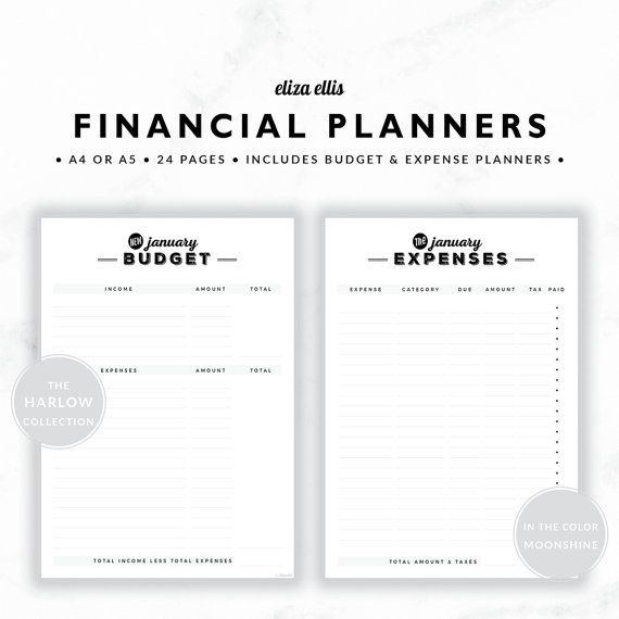 PLANNER ESSENTIALS - FINANCIAL PLANNERS - THE HARLOW PLANNERS IN MOONSHINE  Take the headache out of managing your finances and reach your financial goals with these simple financial planners! Plan your income and spending with the monthly budgets, and easily see how much you can save. Then use the expense tracker to record actual expenses - file it on the front of your monthly bills for a fantastic summary at tax time!  > SPEND $20 AND GET 20% OFF!!! JUST USE CODE PERFECTPLANNER  > FEATURES…