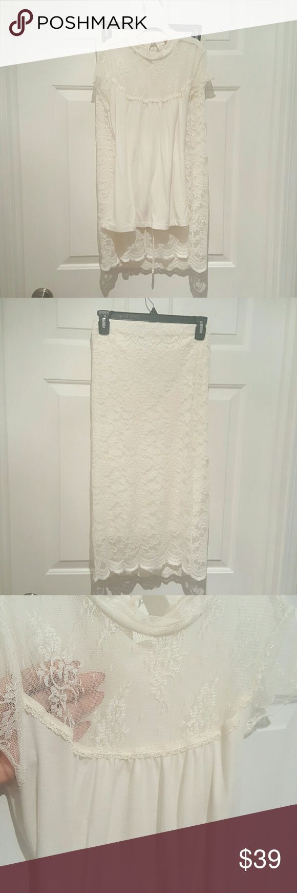2pc Lace Skirt Set 2pc Cream Lace Shirt S - Lined Skirt M. Peppermint  Skirts Skirt Sets