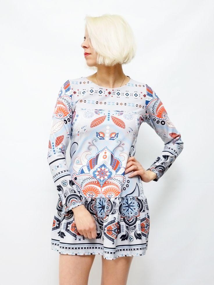 Sukienka ETNO szarość AchVeverka #achveverka #sukienka #wzory #etno