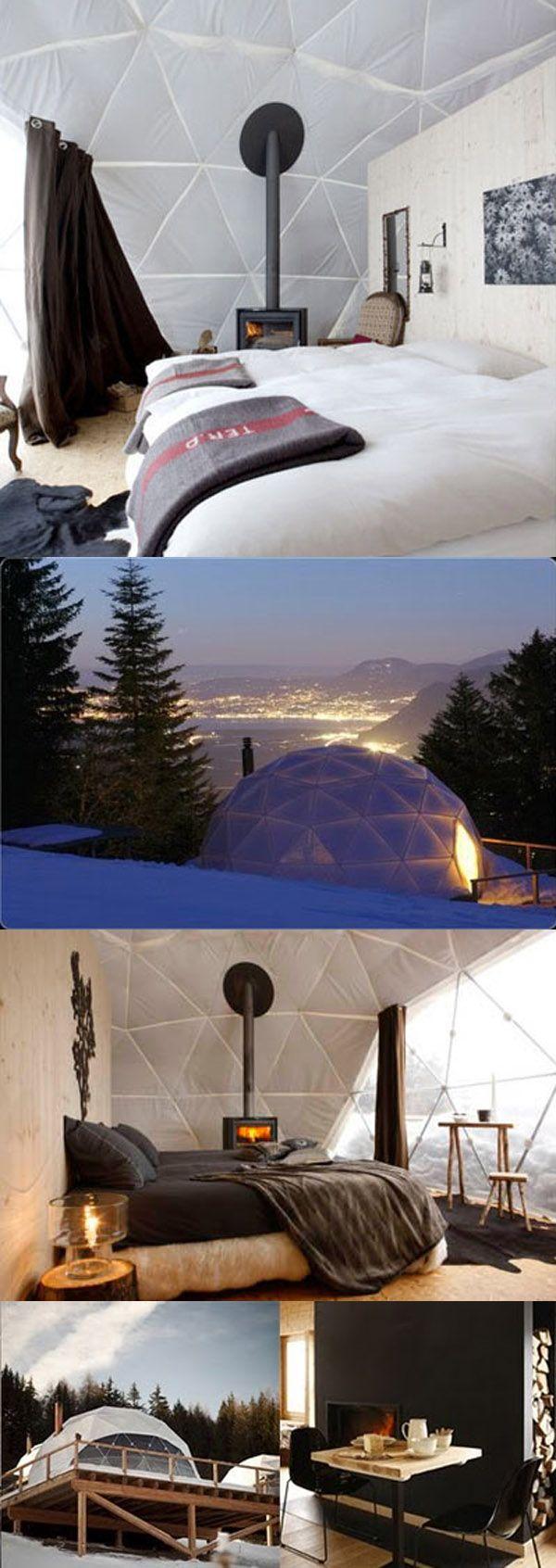 Stylish Hotels : synthetic igloos, WhitePod Resort, Switzerland