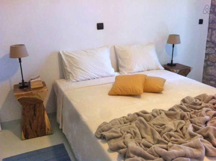 Villa Cyclamen on Airbnb: Elegant new villa with amazing sea views.  Bedroom with en suite bathroom