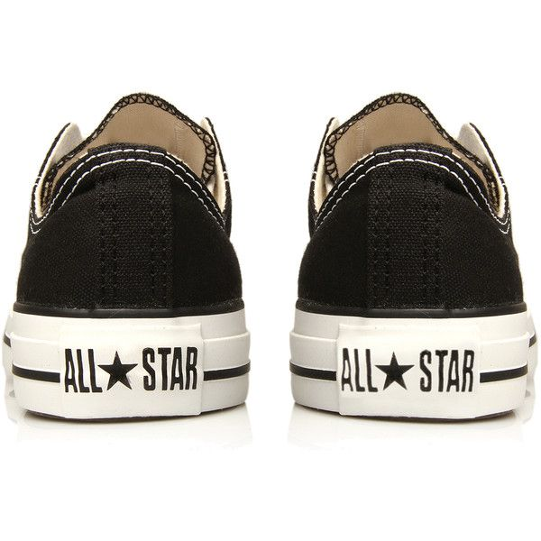 Converse Chuck Taylor Ox Black (€51) ❤ liked on Polyvore featuring shoes, sneakers, converse, black, black low top shoes, black low top sneakers, black trainers, black canvas shoes and synthetic shoes