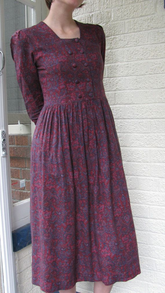 Purple Laura Ashley Dress  Paisley  Made in by easleyexiles, $76.00