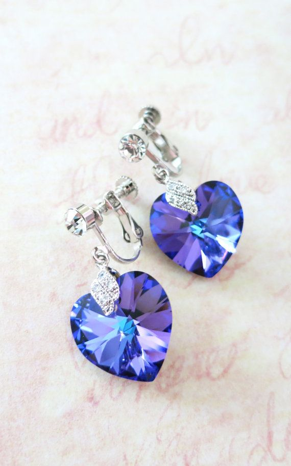 Clip On Earrings - Heliotrope Swarovski Heart Crystal Non-pierced Earrings, bridal Cubic Zirconia, blue purple weddings, bridesmaid earrings, www.glitzandlove.com