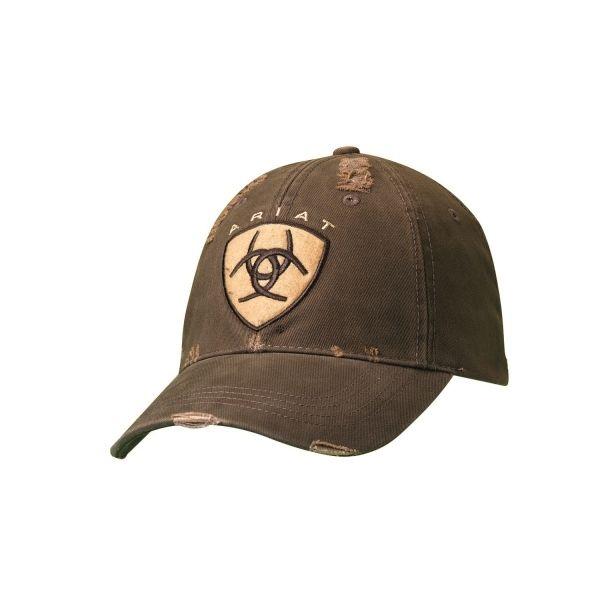... western baseball · mf 15826 02 ball cap ariat logo distressed brown  with velcro back ... 6b4e244c062c