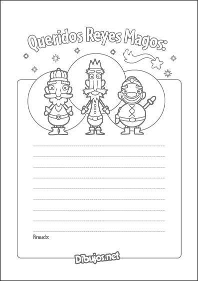 Carta para colorear de los Reyes Magos
