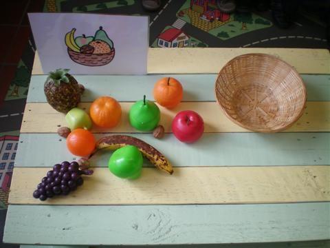 Denkspel: maak de fruitmand na a.d.h.v. een opdrachtenkaart/ voorbeeld