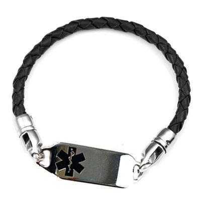 Medical ID Bracelets and jewelry custom engraved for men, women, children - Girls & Ladies Dark Pink Leather Medical Bracelet