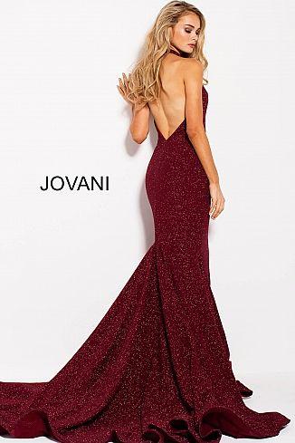 959a8dba7aa Wine Glitter Halter Plunging Neck Prom Dress 55414