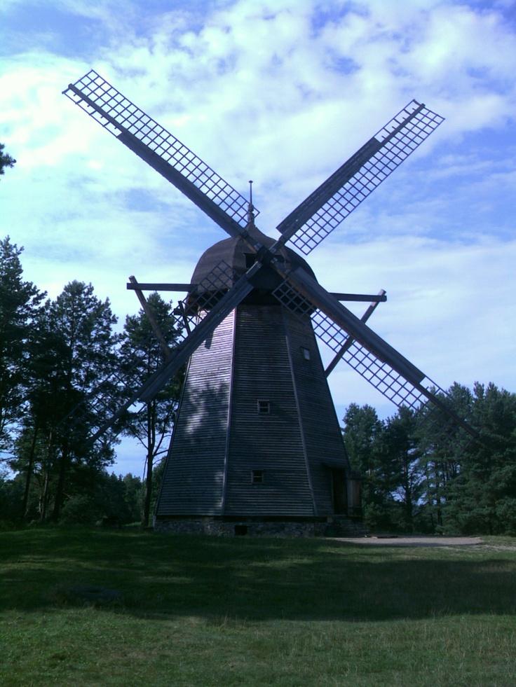 Dutch windmill near Wiatraki, in the Open-air museum of folk architecture in Olsztynek.