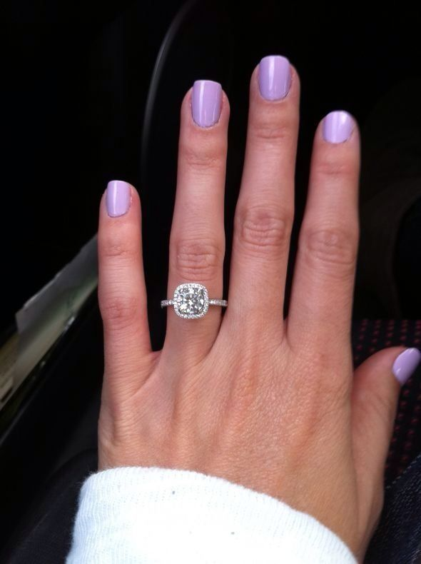 round diamond with cushion halo. gorgeous. I always wanted a cushion cut, but this is so pretty!!