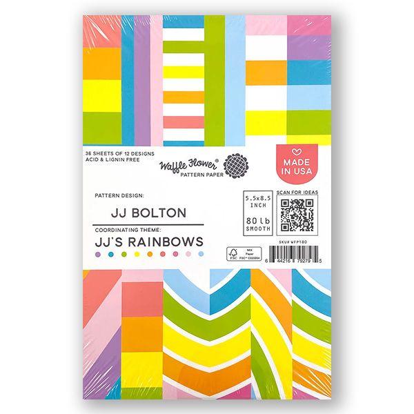 Waffle Flower Crafts Jj S Rainbows Paper Pad In 2021 Rainbow Paper Paper Pads Paper Patterns Design