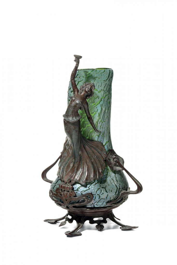 1387 best loetz images on pinterest glass vase art nouveau and loetz art glass vase in an art nouveau metal frame with a figural woman toasting reviewsmspy
