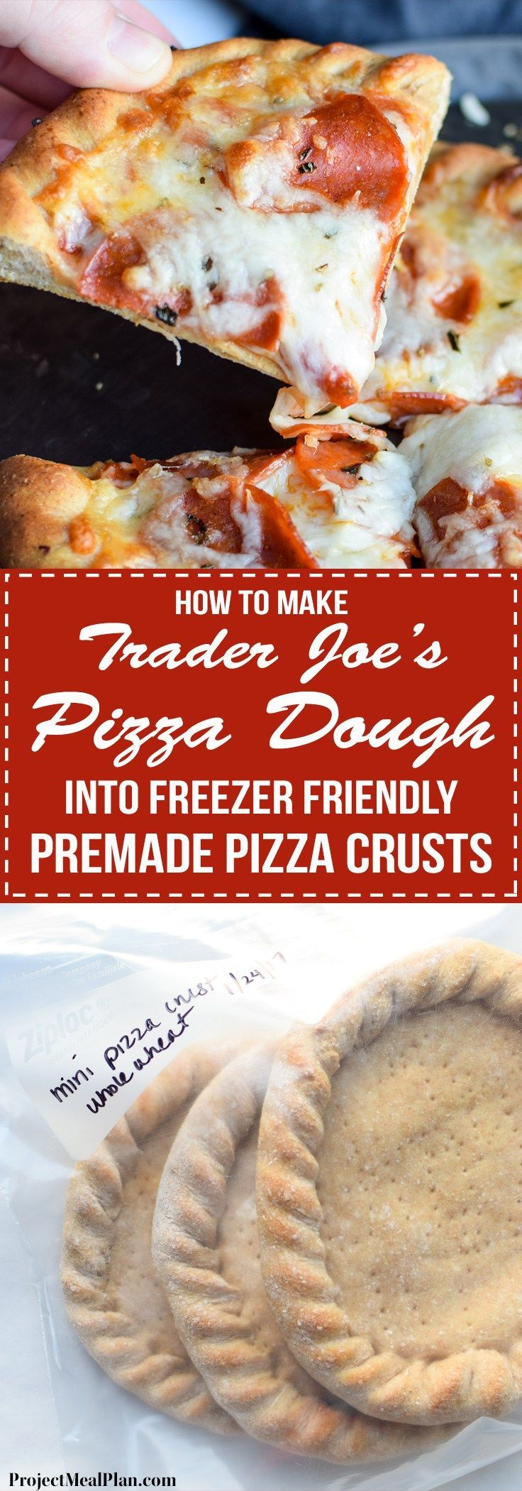 How To Make Trader Joe's Pizza Dough Into Freezer Friendly Premade Pizza Crusts - Four mini pizza crusts in the freezer for emergencies!! Using SUPER cheap Trader Joe's dough! - http://ProjectMealPlan.com