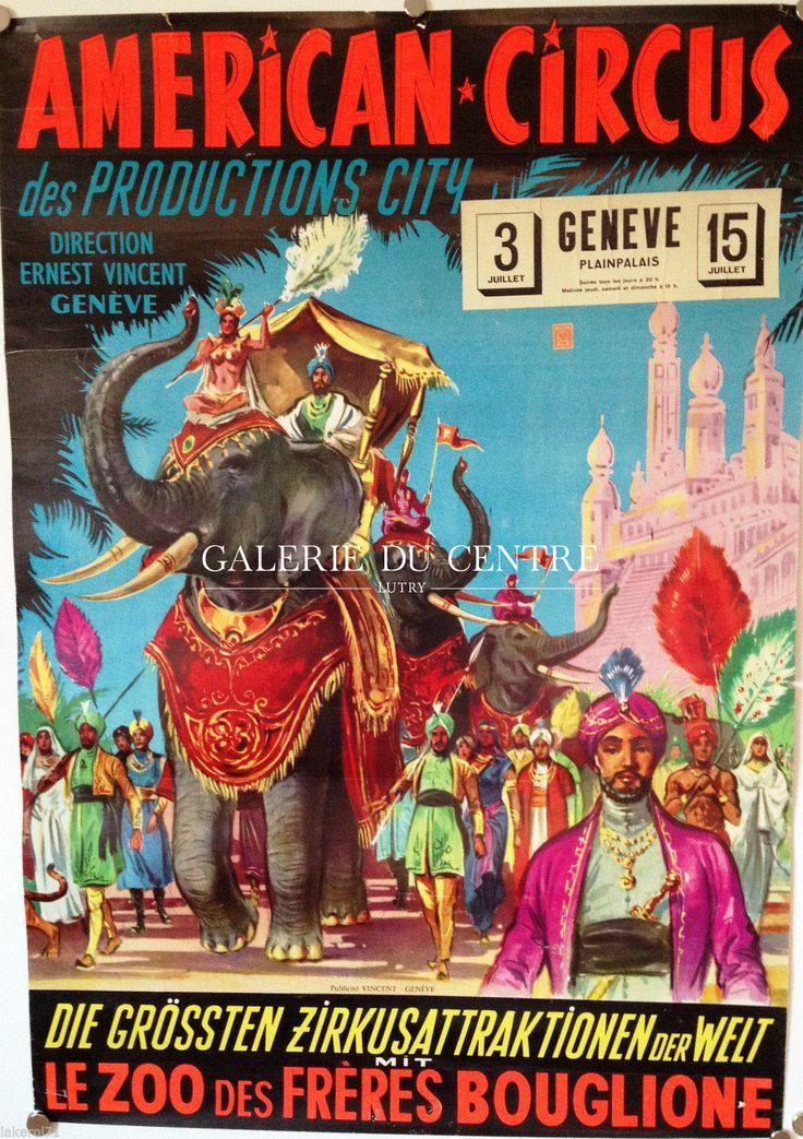 Cirque - Théatre : Affiche originale - AMERICAN CIRCUS (Ernest Vincent les Frères Bouglione)