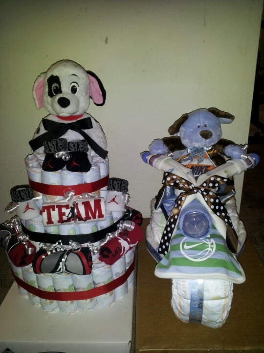 Jordan Baby Gift Baskets : Jordan diaper cake and nike motorcycle baby