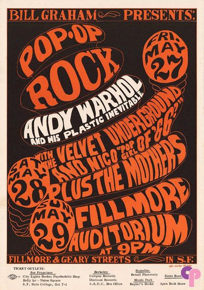 Andy Warhol and His Plastic Inevitable at Fillmore Auditorium 5/27-29/66 by Wes Wilson