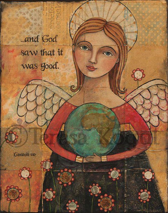 Y Dios vio 11 x 14 imprimir por Teresa Kogut