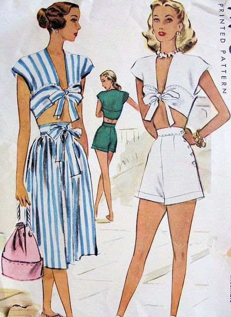 Hey, I found this really awesome Etsy listing at https://www.etsy.com/listing/192697600/40s-pin-up-playsuit-pattern-midriff-top