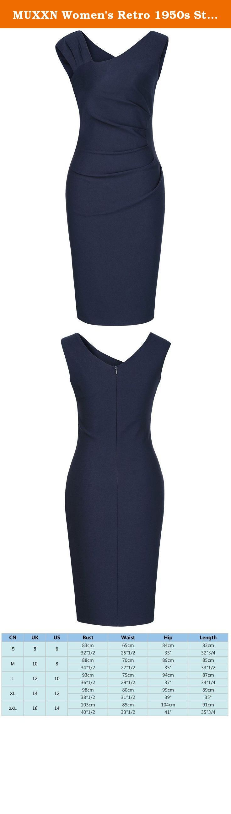 "MUXXN Women's Retro 1950s Style Sleeveless Slim Business Pencil Dress (Blue 2XL). Size Information(inch) XS: BUST- 31.75"" WAIST- 24.00"" LENGTH- 38.25"" S: BUST- 33.25"" WAIST- 25.50"" LENGTH- 38.75"" M: BUST- 35.25"" WAIST- 27.50"" LENGTH- 39.25"" L: BUST- 37.25"" WAIST- 29.50"" LENGTH- 40.25"" XL: BUST- 39.25"" WAIST- 31.50"" LENGTH- 40.75"" 2XL: BUST- 41.25"" WAIST- 33.50"" LENGTH- 41.25"" 3XL: BUST- 43.25"" WAIST- 35.50"" LENGTH- 41.75"" Size Information(cm) XS: BUST- 80cm WAIST- 61cm LENGTH- 97cm S…"