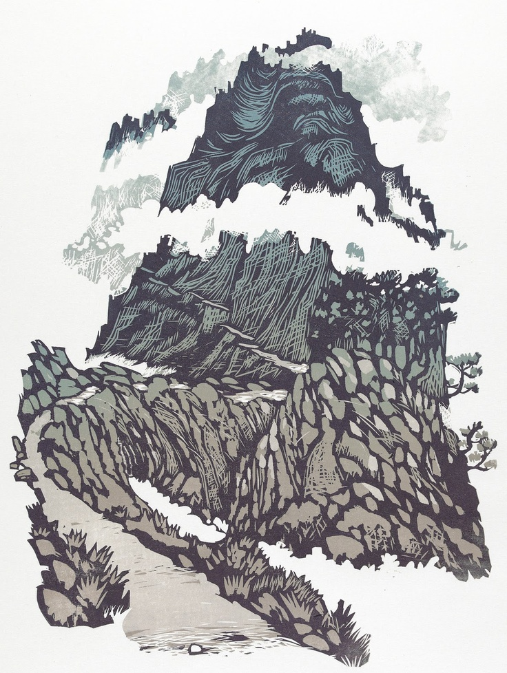 """The Misty Mountain"" (Tryfan) - illustration - linocut by Ian Phillips. http://www.reliefprint.co.uk/ http://linocutwales.blogspot.co.uk/ Tags: Linocut, Cut, Print, Linoleum, Lino, Carving, Block, Woodcut, Helen Elstone, Wales, Welsh, Cymru, Mountain, Hill, Rocks, Mist, Fog, Clouds, Chinese, Path."