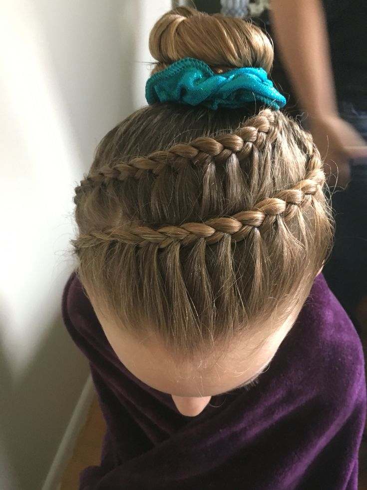 Gymnastics competition hair braid