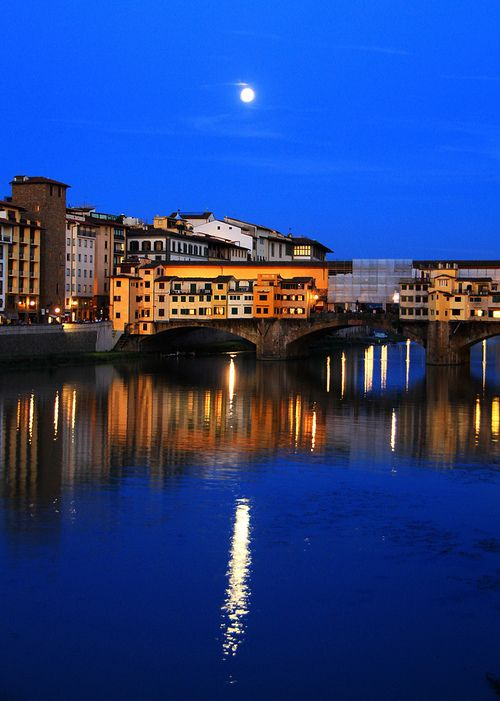 Moonlight in Florence, Tuscany, Italy