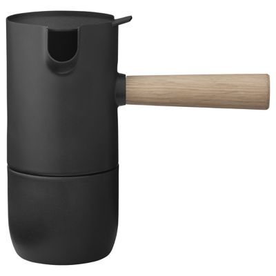"The Stelton Collar Espresso Maker is a sleekly Scandinavian take on the classic Italian ""Moka Pot."" Like the Italian version, this espresso maker brews rich, full-bodied coffee by percolating on the stovetop. It is made out of matte black stainless steel with a thick, cool-to-the-touch wood handle.  Stelton, headquartered in Copenhagen, Denmark, designs and manufactures superb Scandinavian tableware and personal accessories that enhance the modern daily living experience."