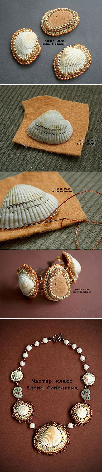 Bead Embroidery around a shell ~ Seed Bead Tutorials