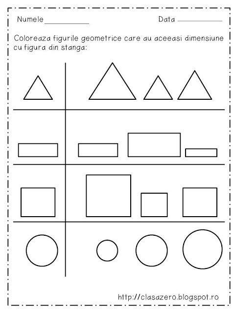 Clasa pregatitoare: Fisa de lucru figuri geometrice