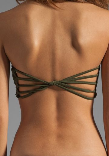 TYLER ROSE SWIMWEAR You Make Loving Fun Bandeau in Army Green at Revolve Clothing. Love the back of this -- Jade Sy
