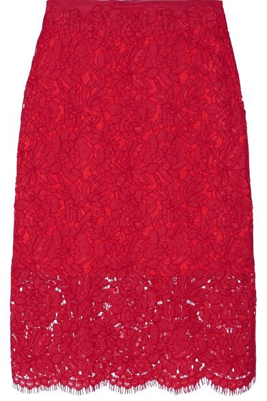 Diane von Furstenberg - Glimmer Corded Lace Pencil Skirt - Red - US