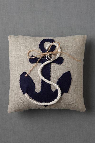 ring pillow: Anchors Pillows, Devotional Rings, Rings Bearer Pillows, Moore Devotional, Anchors Rings, Throw Pillows, Rings Pillows, Beaches Wedding, Diy Pillows