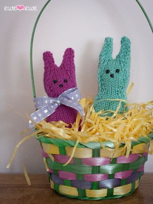Mr. & Mrs. Hopper are going to hop right into your knitting bag! They're so  excited it's Easter. Knit one, two or a whole bunch of these candy-inspired  bunnies for your brood.Wooly Worstedyarn comes in the perfect shades of  aqua and pink!  The Hoppers  Ewe Ewe Yarns Pattern #114 Des